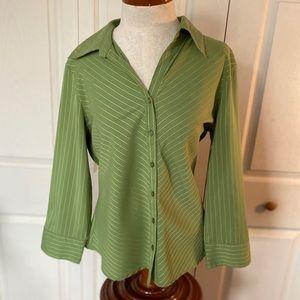 Beautiful large green strip blouse